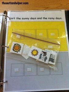 Sort Rainy & Sunny Days Work Task by theautismhelper.com
