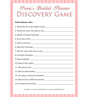 Personalized Printable Bridal Shower Discovery Game - Stripes from PersonalizedBrides.com