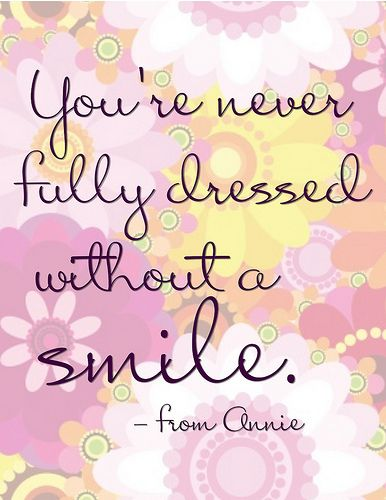 """You're Never Fully Dressed without a Smile"" Word-Art Freebie"