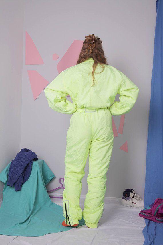 141460d9b5 neon ski suit size L 80s 90s ski suit vintage retro ski