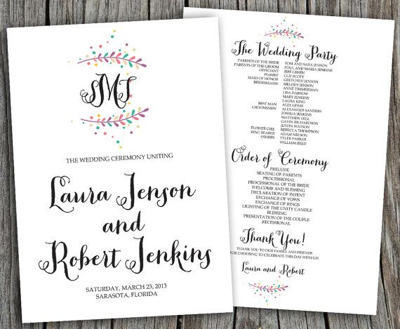 Colored Monogram Laura Printable Wedding by LadyPoppyDesigns,