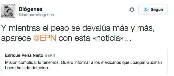 Los sospechosistas, como siempre, intentaron quitarle mérito al presidente. | Los tuits que le enviaron a EPN sobre la recaptura del Chapo son oro puro