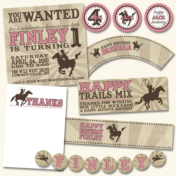 pink cowgirl printable party pack  {boy version in red}Cowgirls Parties, Treats Bags, Cowboy Birthday, Cupcakes Toppers, Cowboy Parties, Westerns Parties, Parties Ideas, Parties Pack, Birthday Ideas