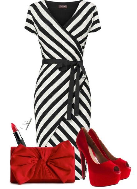 black amp white wrap dress with red accessories plus size