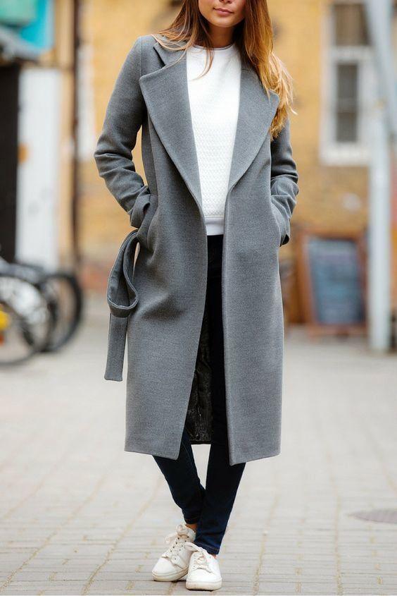 01aea13c3 С чем носить серое пальто: 20 стильных образов - tu-baginya. | мой ...