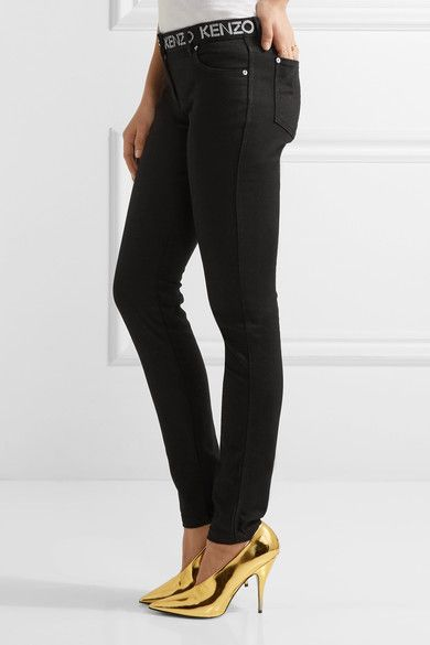 KENZO - Printed Mid-rise Skinny Jeans - Black - FR40