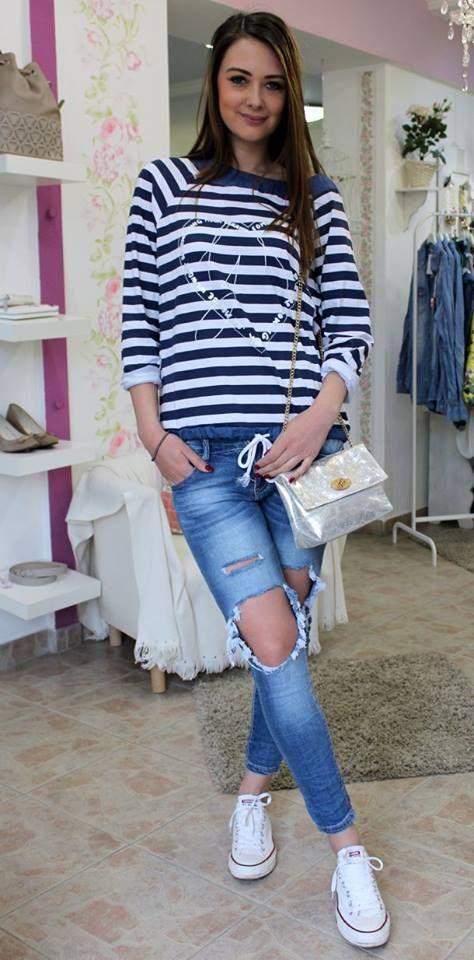 Dark blue-white cotton long sleeved shirt