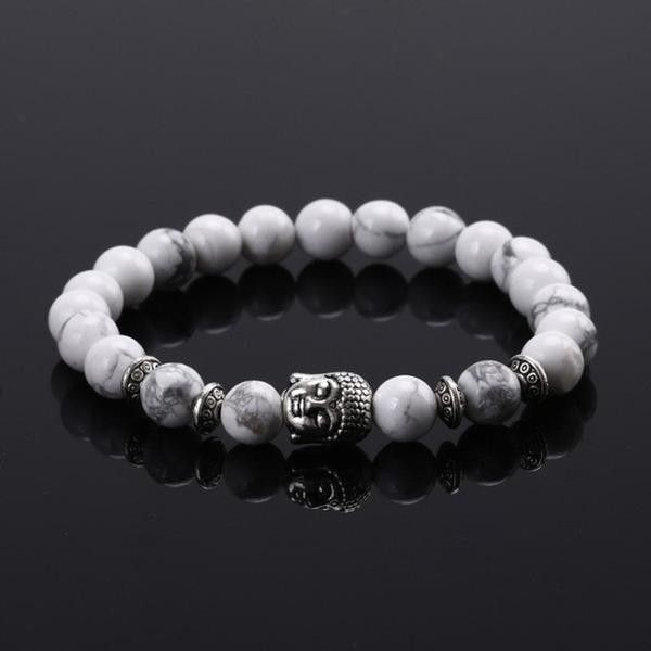 Natural stone buddha beads bracelet – Leonne (215 ARS) found on Polyvore