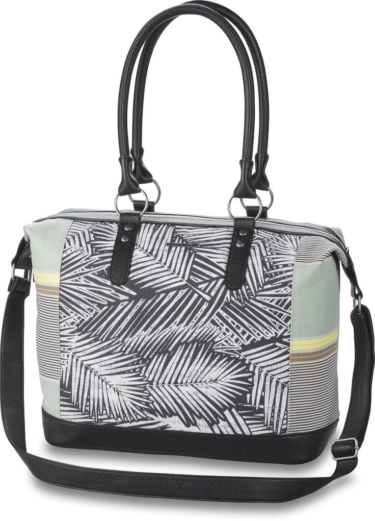 Dakine Etta Bag, Kona Stripe, 21 L. Zippered closure and interior zippered pocket. Vinyl trims and shoulder straps. Vinyl adjustable and removable cross body shoulder strap. Metal logo badge and hardware. Padded bottom panel.