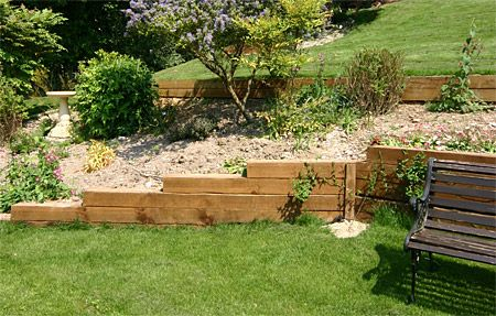 Images of retaining wall ideas Wooden Poles Patios