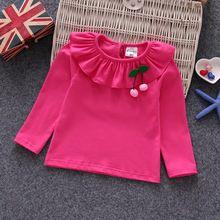 Cereza Niños Niño Bebé Camisa de Las Muchachas Muchachas de la Manga Larga Blusa Diseños KT-1813(China)
