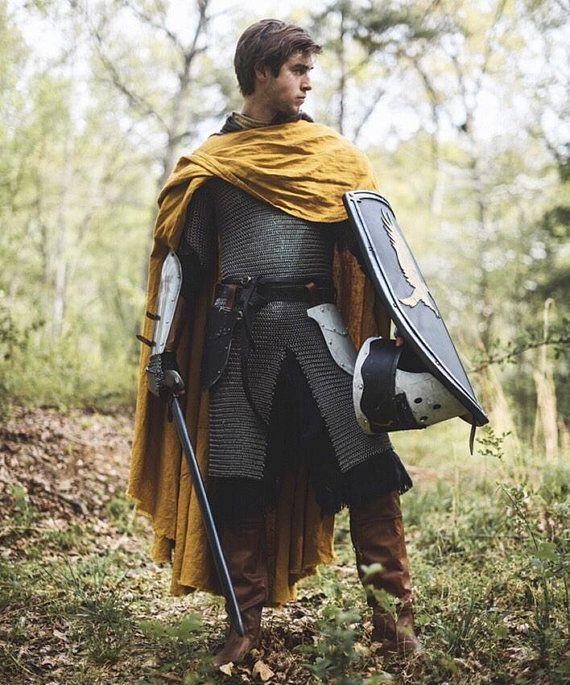 7da44e6c6a6399 Knight's Cape - Medieval Linen Cloak in 2019 | pose references ...