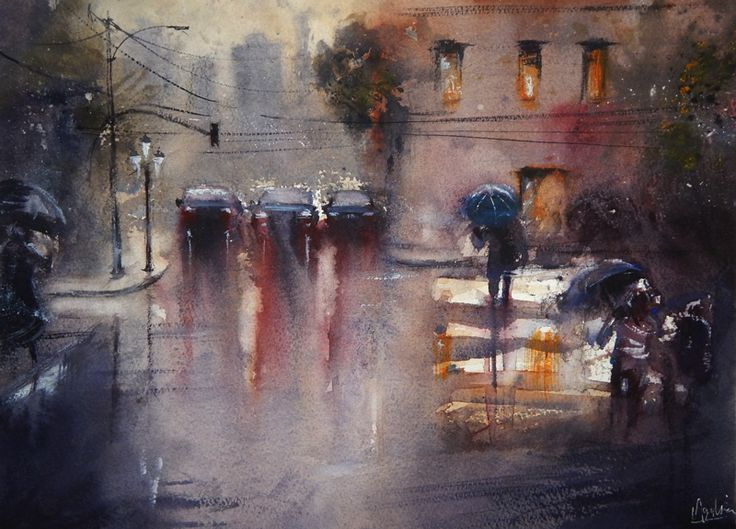 Best JeanYves FREMAUX Images On Pinterest Paintings And Jeans - Astonishing photorealistic paintings of places seen through wet car windshields