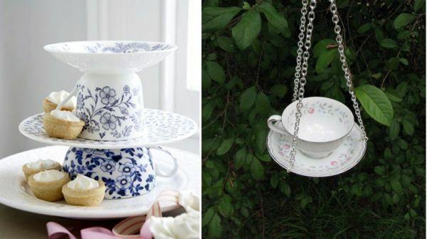 kreative Deko Ideen zum Muttertag aus Tassen und Schalen - Hängende Schalen