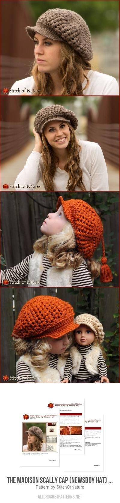 The Madison Scally Cap (Newsboy Hat) for girls crochet pattern