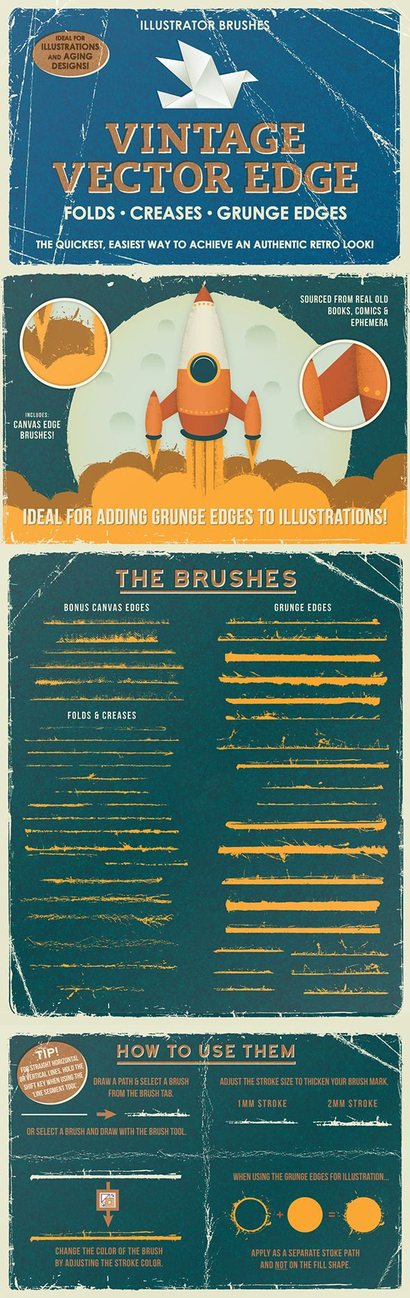 Vintage Vector Edge Brushes - Brushes Illustrator