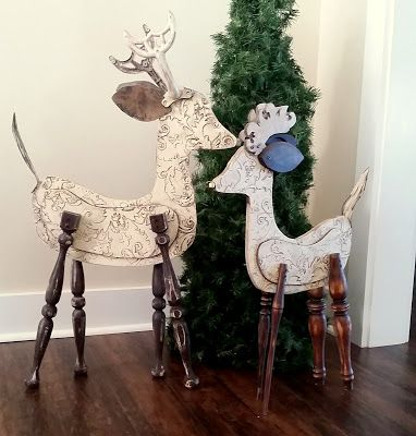 Recycled Wood Reindeer, Large Repurposed Christmas Sculptures | Lucy Designs