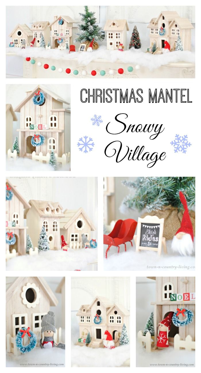 Create a Scandinavian style Christmas mantel using birdhouses from the craft store.