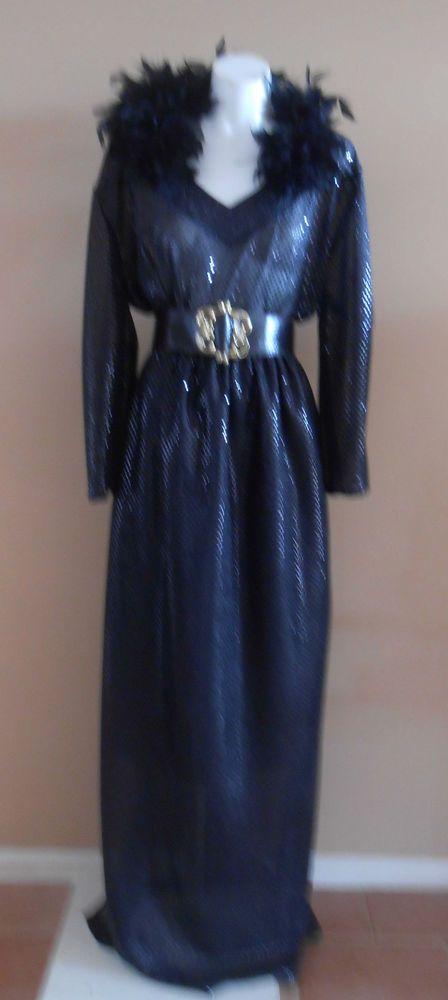 HARAH DESIGNS SEQUIN & FEATHERS  BLACK FULL LENGTH LONG SLEEVE FORMAL DRESS