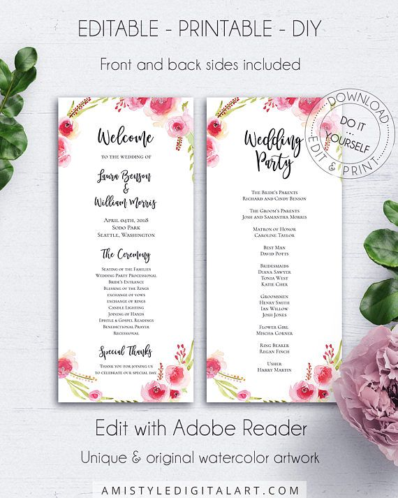 Rose Wedding Program Template, with stunning and elegant watercolor rose wreath design in bohemian style.This adorable two-sided wedding ceremony program template is an instant download EDITABLE PDF pack so you can download it right away, DIY edit and print it at home or at your local copy shop by Amistyle Digital Art on Etsy