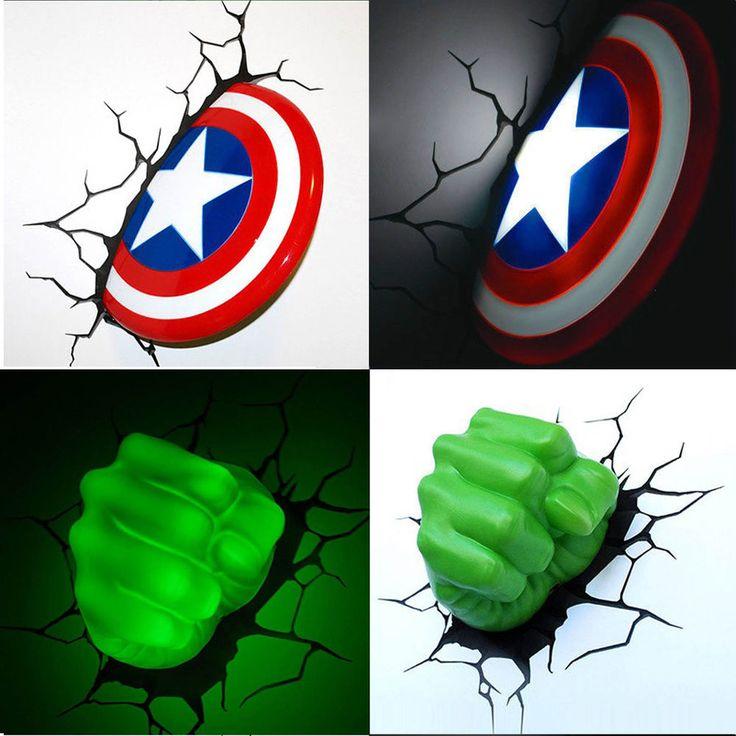 Marvel Avengers Captain America Bouclier/HULK FIST 3D LED lumière Nuit Déco Mur