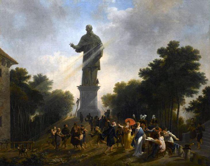 Nicolas Antoine Taunay (1755-1830), L'imperatrice Giuseppina di Beauharnais visita la statua di San Carlo Borromeo ad Arona nel 1797, Malmaison, Château de Malmaison et Bois-Préau