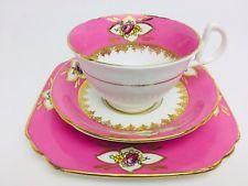Vintage China Wellington  Tea Set Trio Tea Cup, Saucer & Side Plate Pink