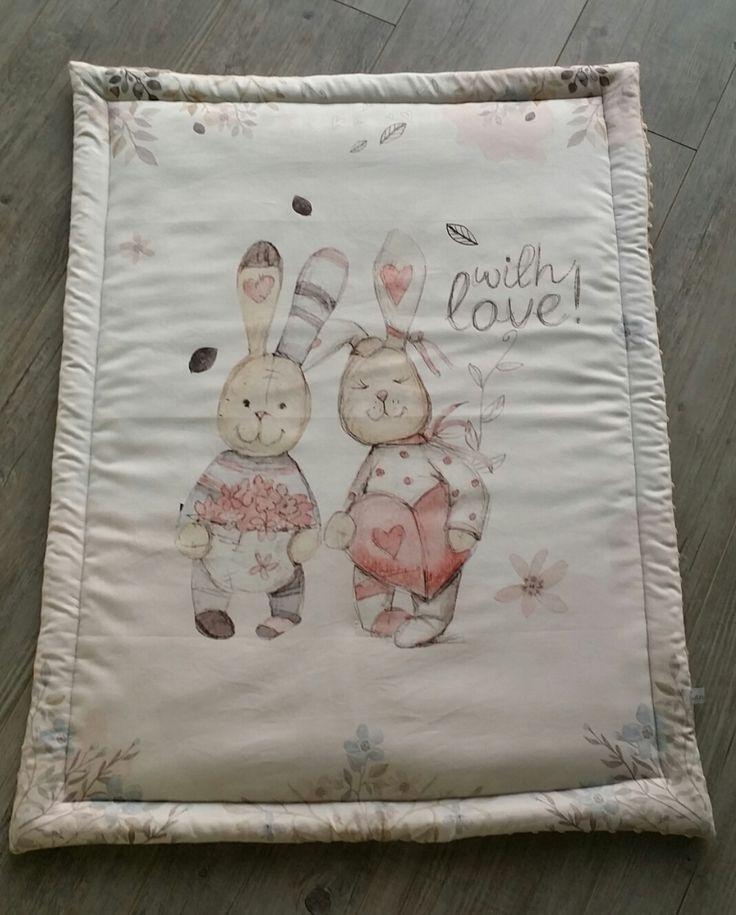 Couverture bébé- modèle lapins amoureux - plaid bébé - couverture fait main : Puériculture par small-sleeper
