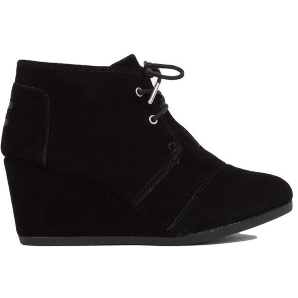 Toms Desert Suede Wedge Bootie - Black (46 CAD) ❤ liked on Polyvore featuring shoes, boots, ankle booties, ankle boots, black ankle boots, black wedge boots, black suede booties and black suede boots