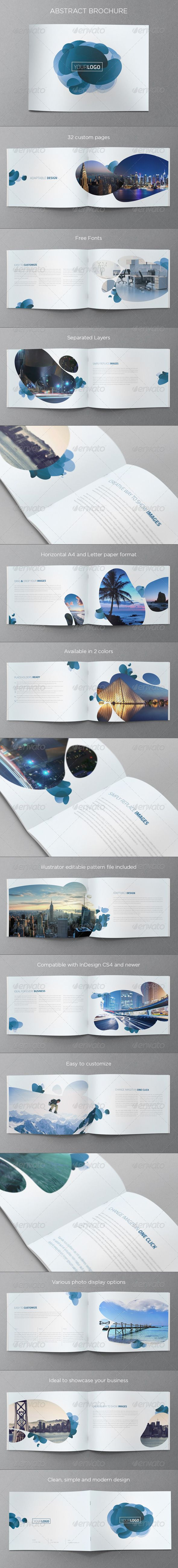 Abstract Modern Brochure — InDesign INDD #clean #blue • Available here → https://graphicriver.net/item/abstract-modern-brochure/5234402?ref=pxcr