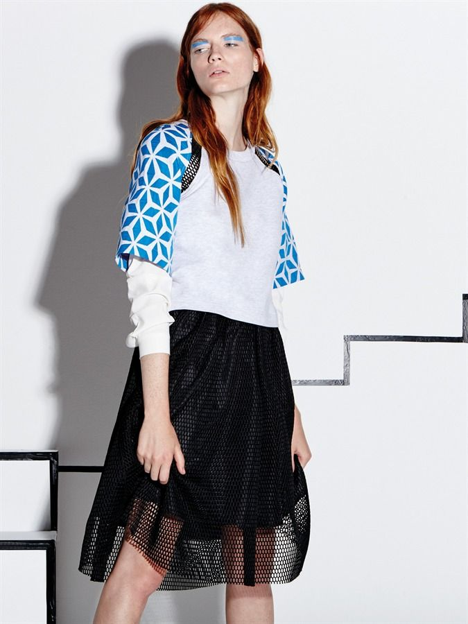 Naughty Dog SS16 geometric blouse and black web skirt!
