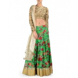 Floral Printed Parrot Green Lengha Set with Sequined Blouse
