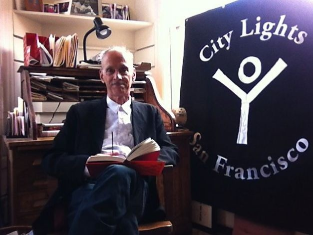 "John Waters reads from ""Lady Chatterley's Lover"" by D.H. Lawrence in the Banned Books Virtual Readout at City Lights. Photo: Stacey Lewis / SF"