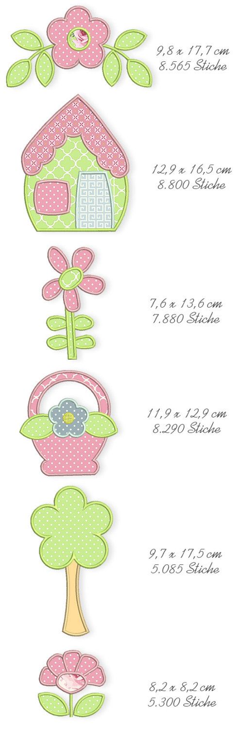 Spring Quilt Applique Machine Embroidery Files by DerStickbaer,para medir as crianças.