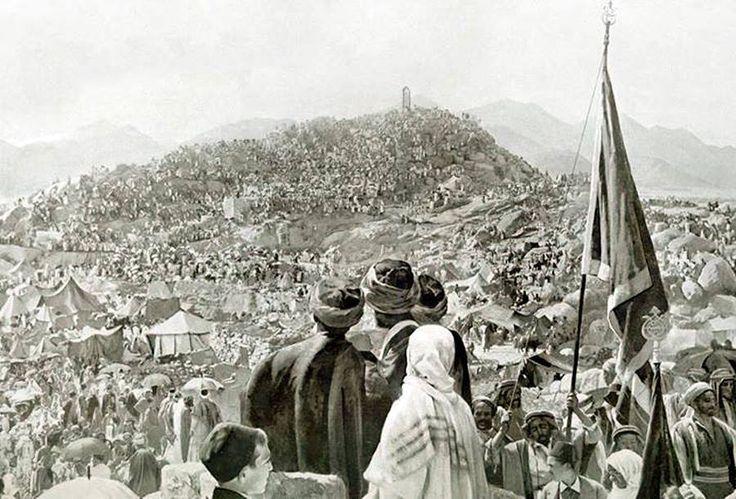 حجاج بيت الله الحرام على جبل عرفة الإثنين 13 (كانون الثاني) عام 1908 م الموافق ليوم 9 (ذو الحجة) لسنة 1325