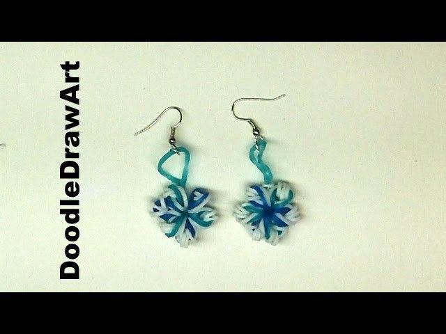 Craft:  Elastic Snowflake Earrings - rainbow loom earrings using crochet hook