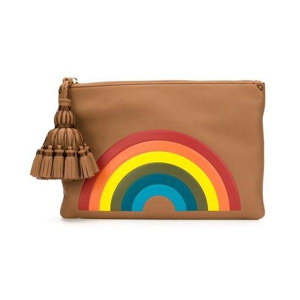 Anya Hindmarch 'Rainbow Georgiana' Clutch (1 255 BGN) ❤ liked on Polyvore featuring bags, handbags, clutches, brown, anya hindmarch, tassel handbags, brown purse, tassel purse and anya hindmarch purse