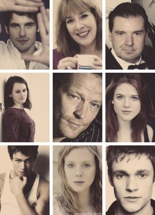 top row: Thomas, Mrs. Hughes, Mr. Bates  middle row: Daisy, Sir Richard Carlisle, Gwen  bottom row: Jimmy, Ethel & Alfred