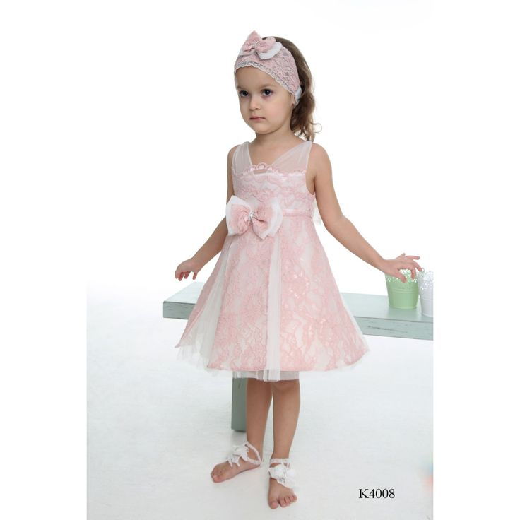 Girls Special Occasion Pink Lace Dress with Bow from michiamo.gr    Children's Clothing for Christenings & Special Occasions