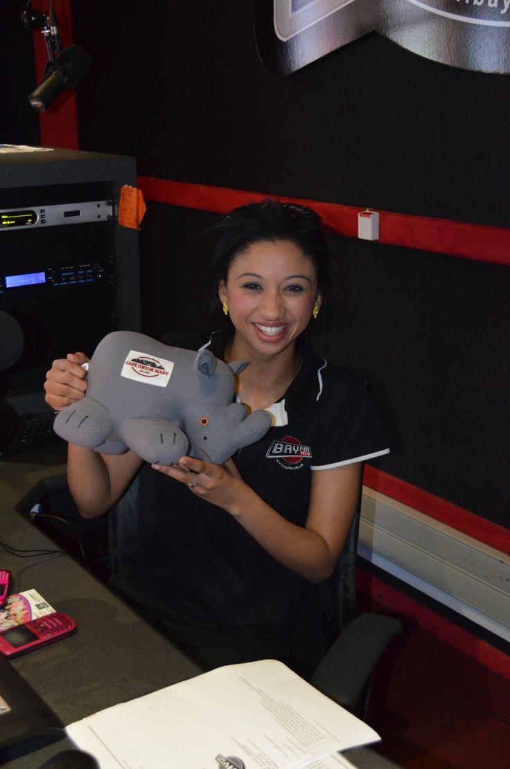 Rhino and the radio presenter at bayfm!