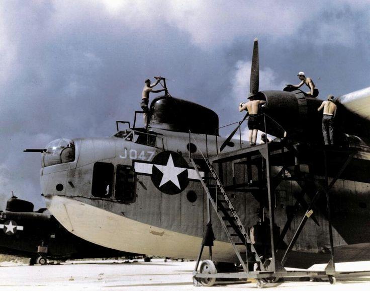 PBM-5 Mariner, aircraft of US Navy patrol bombing squadron VPB-27 at Tanapag, Saipan, Mariana Islands, April 1945.