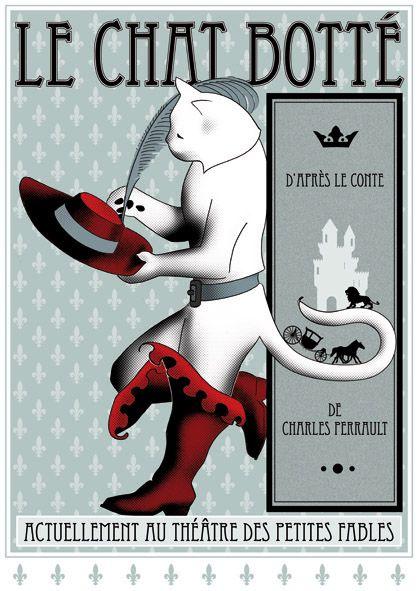 Affiche du Chat Botté (Puss in Boots) 1932 Brume; illustration vintage d'après le conte de Charles Perrault. © Le Chat à Botter