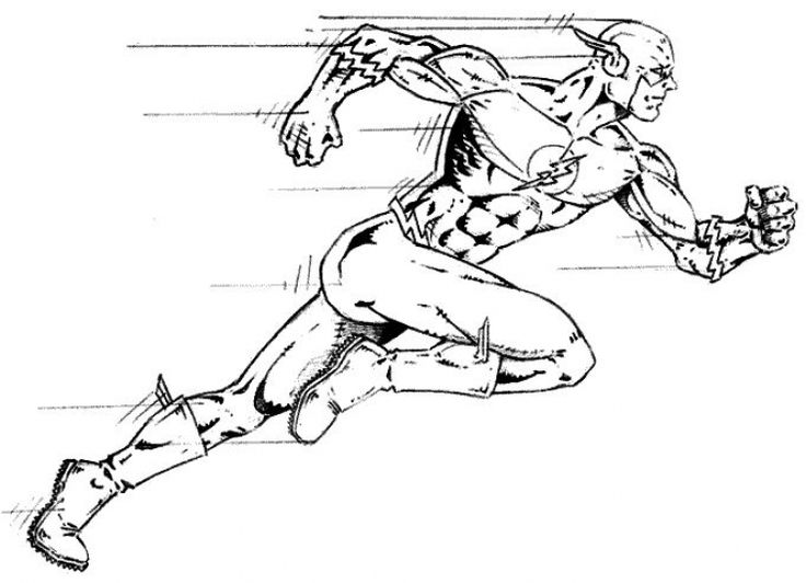 Running Superhero The Flash Coloring Pages For Kids Boys And Girls