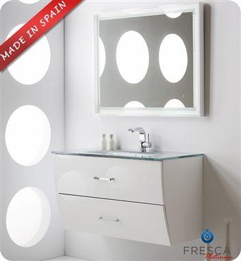 "Fresca Platinum Wave 39"" White Gloss Wall-Mount Modern Bathroom Vanity"