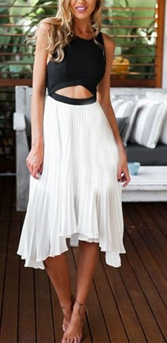 Catch Me When I Fall White Black Sleeveless Scoop Neck Cut Out Waist T Strap Pleated Midi Dress