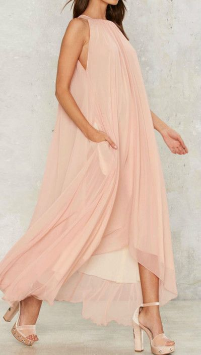 Halter Backless Maxi Chiffon Maxi Dress