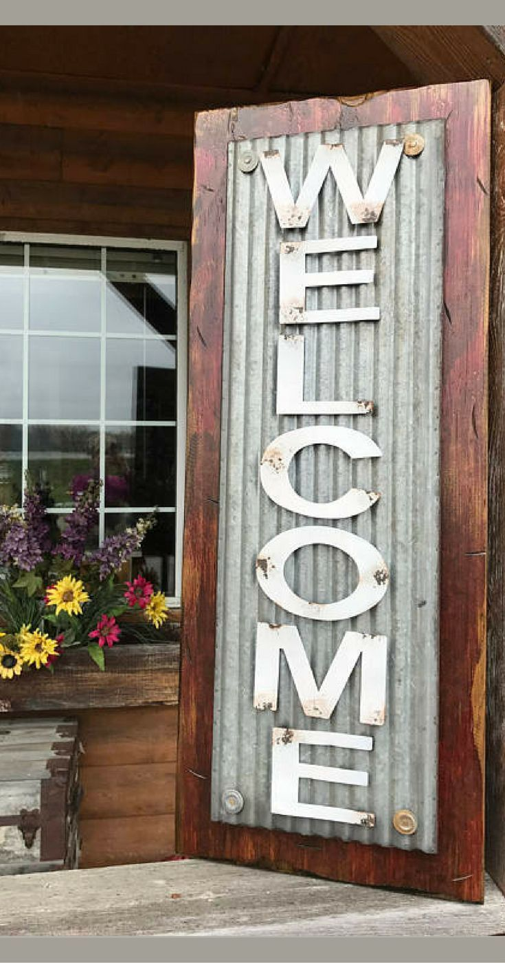 Welcome Sign Vertical For Porch Rustic Metal On Distressed Wood 3 Feet Tall Rustic Sign Rust Rustic Farmhouse Style Front Porch Decorating Rustic Metal Decor