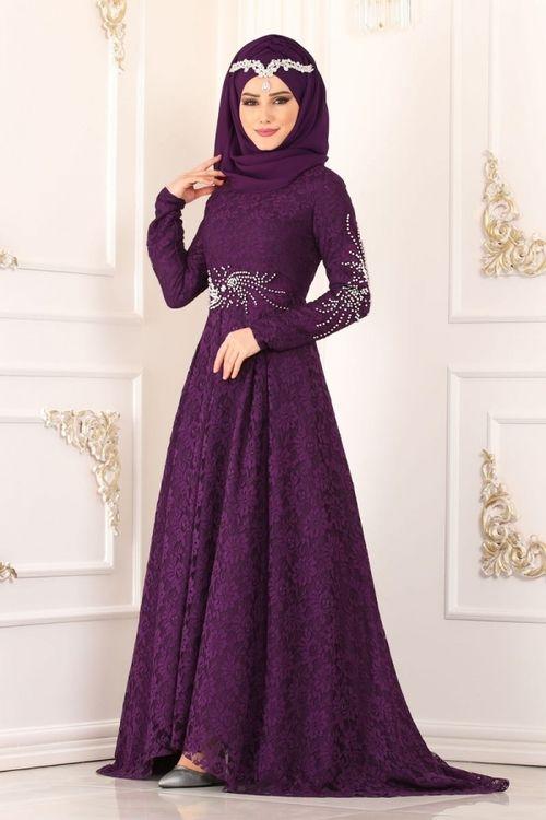 Modaselvim Abiye Inci Detay Kuyruklu Dantel Abiye 5148ay342 Mor Musluman Modasi Moda Stilleri The Dress