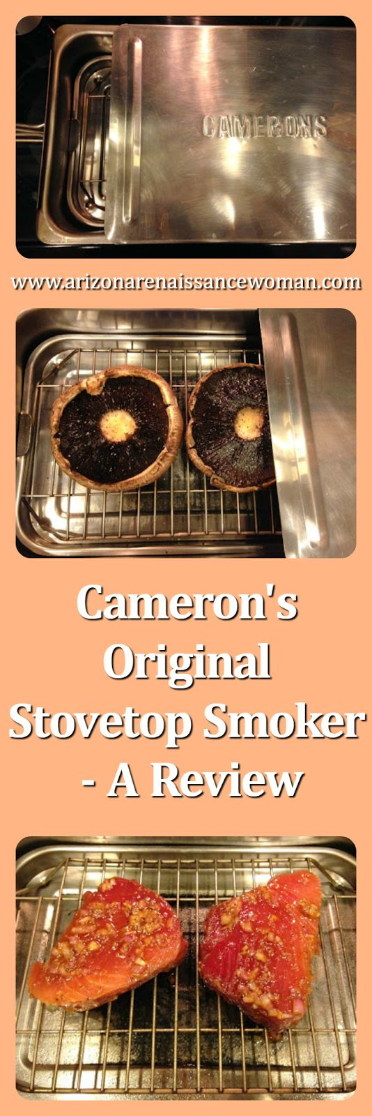 http://www.arizonarenaissancewoman.com/2016/04/camerons-original-stovetop-smoker-review.html Cameron's Original Stovetop Smoker - A Review - I finally devoted a whole blog post to one of my favorite kitchen items!  :)