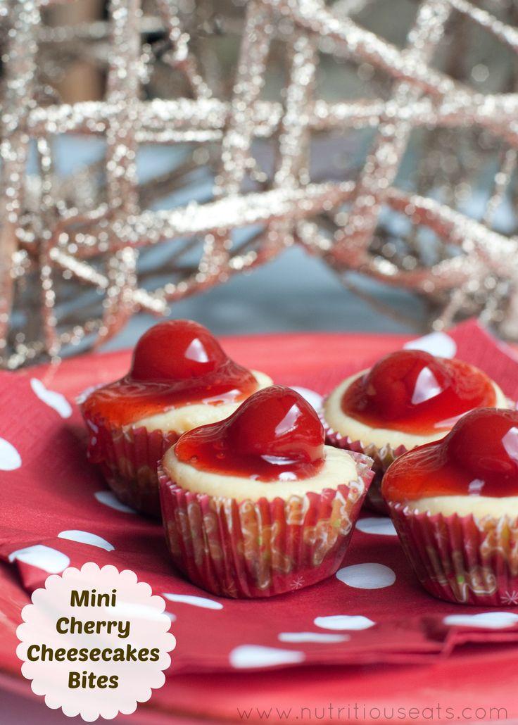 Mini Cherry Cheesecake Bites with vanilla wafer bottom